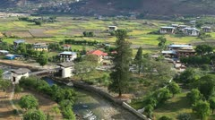 View of the village from rinpung dzong, paro, bhutan Stock Footage