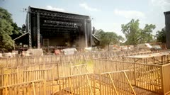 Music festival stage preparations Stock Footage
