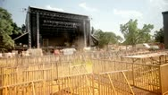 Stock Video Footage of Music festival stage preparations