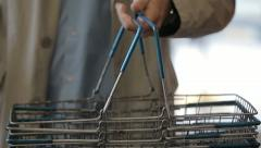 Baskets for products in the store Stock Footage