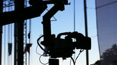 Jimmy Jib Camera Crane in Action Stock Footage