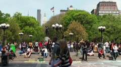 Crowd at Union Square Park at noon. Stock Footage