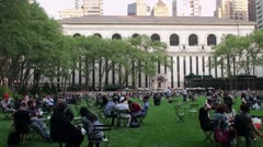 Rest of citizens at the Great Lawn in Bryant Park. Stock Footage