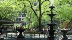 Citizens near the fountain in Madison Square Park. Stock Footage
