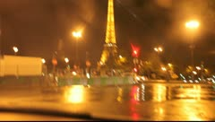 Paris Eiffel Tower with traffic Stock Footage