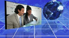 Business teams working in their offices with an Earth image courtesy of Nasa.org Stock Footage