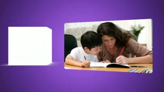 Parents helping their child to do their homework - stock footage