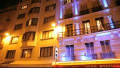Paris Brasserie at night Stock Footage