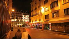 Paris streets at night with 2 people Stock Footage