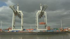 Container stowage in Eemhaven, Port of Rotterdam Stock Footage
