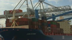 Seavessel containers, Port of Rotterdam Stock Footage