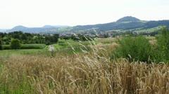 The German mountain Hohenstaufen, seat  of the former emperor Barbarossa Stock Footage
