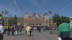 Amsterdam ciyt centre CS central station Stock Footage