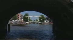 Amsterdam travelshot canal bridge city centre Stock Footage