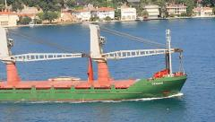 Green Freighter Ship Stock Footage
