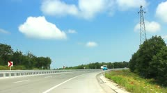 Car driving on the autobahn in a sunny day. Timelapse Stock Footage