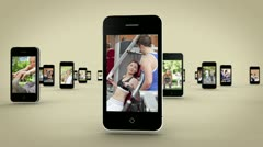 Videos of women working out on smartphone screen Stock Footage