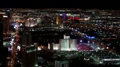 Las Vegas at night. Bird's-eye view. Time lapse. Stock Footage