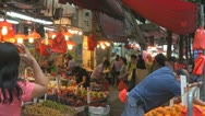 Busy street market in Hong Kong, China Stock Footage