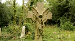 Gravestone angel celtic cross Stock Footage