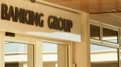 Bank sign group banking Stock Footage