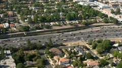 Aerial View of Los Angeles Freeway Suburbs California - stock footage