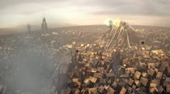 Post Apocalyptic City on Fire - stock footage