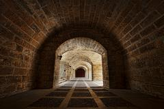 Palma Mallorca Catacomb tunnels arches bold - stock photo