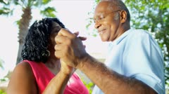 African American Couple Dancing Garden Stock Footage