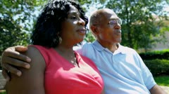 Mature African American Couple Retirement Home Garden Stock Footage