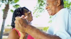 African American Couple Dancing Retirement Home Garden Stock Footage