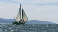 Sailboat Cutter Under Way Sailing on Bay Waters Stock Footage