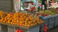 Fruits for sale, street market, Hong Kong, China Stock Footage
