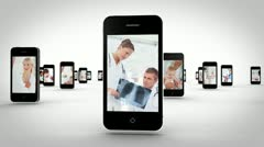 Videos of a hospital on smartphones Stock Footage