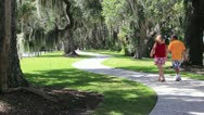 Couple walking on path in park Stock Footage
