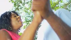 African American Couple Dancing Retirement Home Garden - stock footage