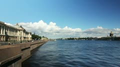 General view of Neva River, St. Petresburg, Russia (timelapse) Stock Footage