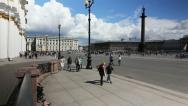 Stock Video Footage of PAN: Tourists walking on Palace Square, St. Petersburg, Russia