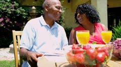 Senior African American Couple Enjoying Healthy Meal   Stock Footage