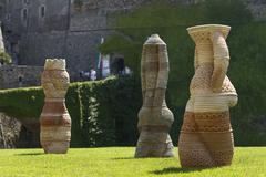 Savona Italy modern art sculptures ancient castle Stock Photos