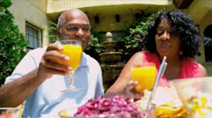 African American Couple Eating Healthy Lunch - stock footage