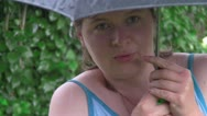 Stock Video Footage of woman under an umbrella