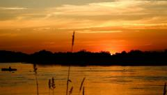 Sunset on the river - stock footage