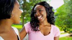 Ethnic Mom Teenage Daughter Talking Outdoors Stock Footage