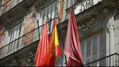 Detail of a decorated facade at the Palza Mayor, Madrid, Spain. Stock Footage
