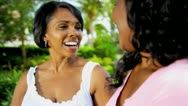 Ethnic Mom Teenage Daughter Talking Outdoors Stock Footage