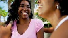 Ethnic Mom Teenage Daughter Talking Outdoors - stock footage