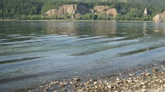 River Yenisei Water Flow Close Up Stock Footage
