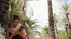 Latin model with tablet Stock Footage