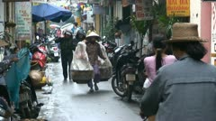 Busy Alley Venders in Hanoi Vietnam Asia Stock Footage